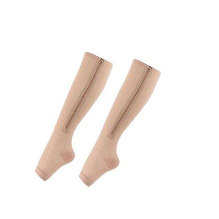 Le-lamer Exclusive Cipzáras bézs kompressziós zokni S/M LLM-321H50