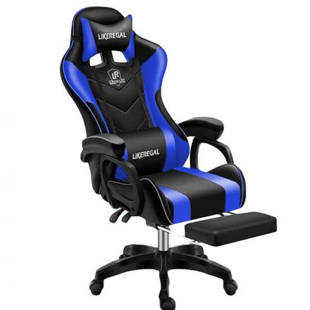 Likeregal 920 masszázs gamer szék lábtartóval kék (LI-SW110BL)