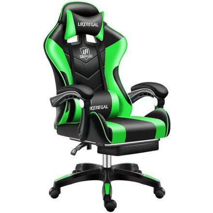 Likeregal 920 masszázs gamer szék lábtartóval zöld (ZO-SW110ZO)