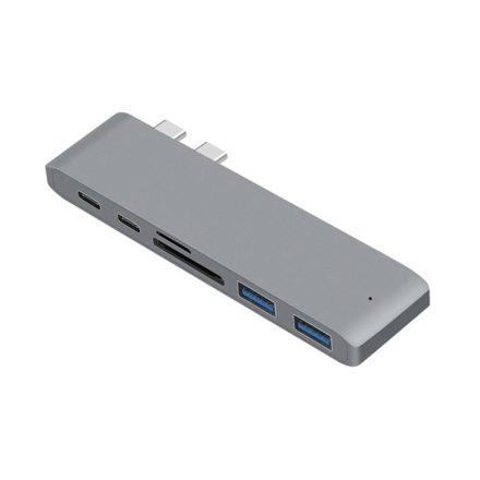 NewLine  USB elosztó HUB MacBook-hoz szürke színben, Type-C, USB 3.0, SD, Micro SD, TF RAM-MD387