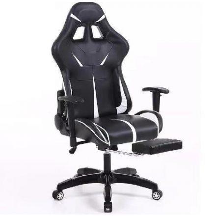 Sintact Gamer szék Fehér-Fekete lábtartóval (SG-SW110FK)