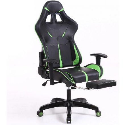 Sintact Gamer szék Zöld-Fekete Lábtartóval (SG-SW110FK)
