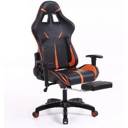 Sintact Gamer szék Narancs-Fekete lábtartóval (SG-SW110NK)