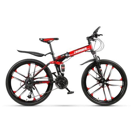 AMIN 686 hegyi kerékpár piros-fekete hagyományos küllős kivitel (Összecsukható)