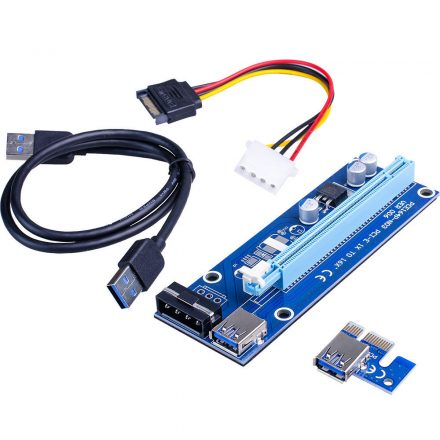 PCI-express x1 - x16 riser kártya mining/rendering kit  RAM-MD373