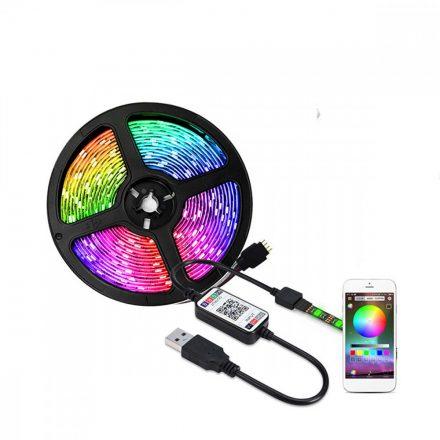 Lebit színváltós USB LED szalag mobiltelefonos távirányítással 1 méter-es PRL-C23730